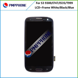 Wholesale Lcd Galaxy S3 - LCD for Samsung Galaxy S3 i9300 i9305 i747 T999 i535 White and blue Touch LCD Screen Digitizer + Frame Replacement Fast Shipping