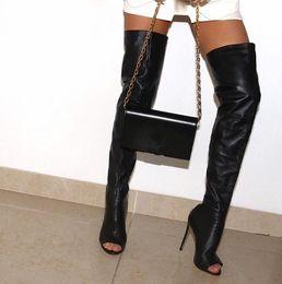 peep toe thigh boots Desconto Mulheres Coxa Botas Altas Confortáveis Couro Genuíno Sapatos Artesanais Peep Toe Sobre O Joelho Saltos Drop Frete Grátis