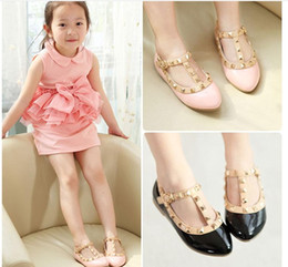 Wholesale Kids Retail Shoes - 2016 New Cute Girl Princess Shoes Girls Leather Shoes Children Fashion Casual Shoes Kids Shoes Baby Shoes 4 Colors Retail