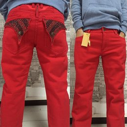Wholesale Red Hot Jeans - new arrival hot jeans denim with wings american flag jeans plus size30-42