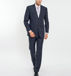 Wholesale Two Piece Men S Pants - New Arrivals Two Buttons Groom Tuxedos Peak Lapel Groomsmen Best Man Suits Mens Wedding Suits (Jacket+Pants+Tie) two-piece