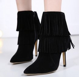 Wholesale Trend Women Winter Boots - 2017 autumn and winter the new Europe and the United States the most ultra-trend tassel pointed high-heeled boots boots women boots