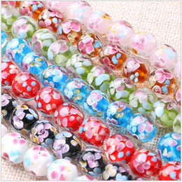 Discount blue glass beads flowers - Wholesale Lampwork Glass Beads for Making Charm Bracelets Necklace Decoration Petals Flower Designs Round Jewelry Beads Supplies