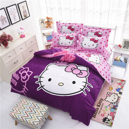 Wholesale Cheap Bedclothes - Wholesale-Factory Sale Cheap Cartoon Bedding Set 3d Hello Kitty Bedclothes Bed Linen 4pcs Duvet Cover Bed Sheet Pillowcase Free Shipping