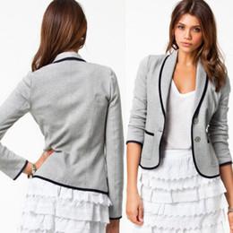 Wholesale Women Blazers Wholesale - Hot Ladies Stylish Casual Suit Black Gray Coat Jacket Blazer Women Slim Basic Suits Turn-down Coll Jackets Outerwear Blazers Coats Free DHL