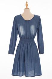 Wholesale Cheap Ladies Winter Clothes - 2016 Autumn Winter Vintage Denim Ladies Casual Dresses Long Sleeves Jewel Neck Defined Waist Cheap Party Women's Clothing Wholesale FS0586