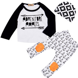 Wholesale Top Hat Pieces - Baby boys letter outfits cotton hat+top+pants 3pcs set children Spring Autumn suits kids arrow Clothing Sets C3010