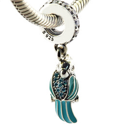Wholesale Parrot Glass - Tropical Parrot Mixed Enamels Teal & Clear CZ 2016 Summer 100% 925 Sterling Silver Bead Fit Pandora Bracelet Fashion Jewelry DIY Charm Brand