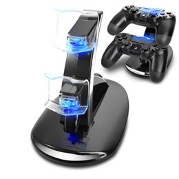 Wholesale Playstation Controller Accessories - HOT Game Accessories New Blue LED Dual USB Powered Charging Dock Stand Holder Support Charger For Sony PlayStation 3 PS3 Controller