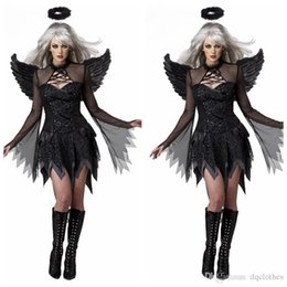 Wholesale Halloween Dress Witch - Halloween Role-playing Demons Apparel Women Black Movie Sexy Role Playing Costumes Dress Headwear Wings Witch Cosplay Apparels
