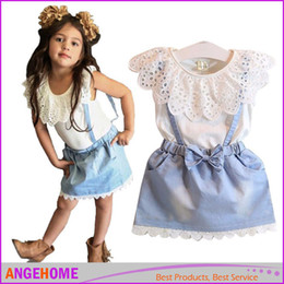 Wholesale Wholesale Denim Floral Shirt - 2016 Summer Kids Suit Girl Dress Lace White T Shirts Baby Denim Skirt Kid Dress Suits Child Floral Print suspender trousers