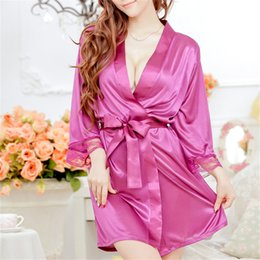 Wholesale Sexy Lingerie Open Front - Wholesale- 1 Set Women Sexy Lingerie Lace Faux Satin Front Open Belted Bathrobe Nightgown Sleepwear Cardigan Lacing Sleepshirts + Thong