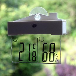 Wholesale Digital Transparent Clock - H208H Digital Transparent Display Thermometer Hydrometer Indoor Outdoor Clock Station Stock Offer with Suction Cup Window