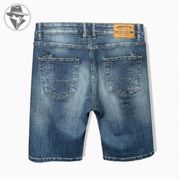 Wholesale 4xl Tall - Wholesale-Leepen Men's Cotton Knitted Denim Shorts Big & Tall Summer Fit Jeans High Quality Mid-Length Jeans Plus Size 28-52 LP4024