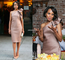 Wholesale One Shoulder Column Dress - New Kerry Washington Celebrity Dress Bridesmaid Party Gowns One Shoulder Bow Satin Knee Length Sheath Dusty Blush Club Cocktail Dresses 2016