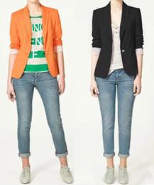 Wholesale Women Blazers Wholesale - 2016 Women's Fashion Candy Colors Blazer Suit with Single Button Ladies Jacket Coat Plus Size Outerwear wholesale DHL Free
