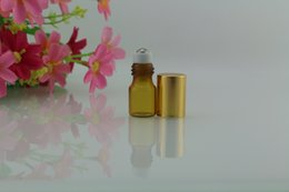 Wholesale Small Perfume Roll - LOT SMALL 2ML AMBER EMPTY PERFUME ROLL ON ROLLER BALL GLASS BOTTLE(AMG)