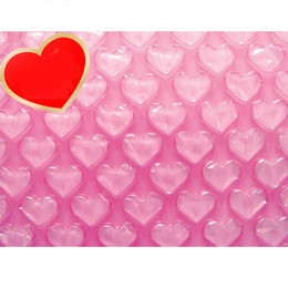 Wholesale Foam Cushions - Wholesale-0.3*60m New Heart-shaped Cushioning Package Bubble Roll Air Inflatable Packaging Wrap Foam Pouch Protection Shipping Foam Rolls