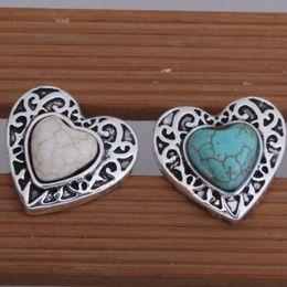 Wholesale Color Metal Bangle - 10PCS Lot Hot Colorized Rhinestones Heart Metal Snap Button Mixed Color Snaps Charms Jewelry Fit Bracelet&Bangle S54