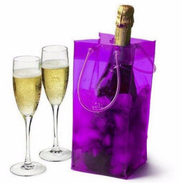 Wholesale Ice Bag Wine Chiller - Wholesale 100pcs lot PVC Wine Beer Champagne Drink Cooler Chiller Drink Pouch Wine Bottle Ice Bag Bucket For Parties Practical
