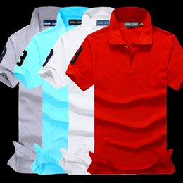 Wholesale Bodybuilding Shorts - New Brand Men's Big Horse Embroidery Polo Shirt For Men luxury Polo Men Cotton Short Sleeve shirt jerseys bodybuilding fitness men Plus Size