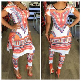 Wholesale Ladies Full Casual Length Dresses - 2017 Summer African Women 2 Two Piece Sets Pants Ladies Print Outfits Short Sleeve Casual Bodycon Dashiki Dress + Long Pants Suit Tracksuit