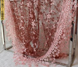 Wholesale Wholesale Lace Shawl Scarves - Fashion Summer Ladies Lace Scarf Tassel Sheer Metallic Women Girls Floral Print Triangle Bandage Floral scarves Shawl