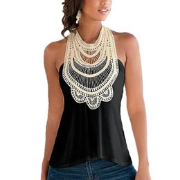Wholesale Embroidered Sleeveless Shirt Woman - Singwing Women Lace Hollow Out Shirts Summer Sleeveless Ladies Shirts Embroidered O-neck Female's Clothing Shirts Blouses