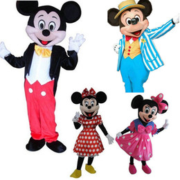 Wholesale Pink Minnie Mouse Adult Costume - High quality Mickey Mouse adult mascot costumes Mickey and minnie mascot costume fancy carnival costume Factory Direct Sale