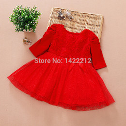 Wholesale Cute Baby Girl Chinese - Free shipping new 2016 Kids girls clothes cute summer dress fashion baby girls gown dress princess red formal dress