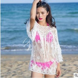 Wholesale Women Shirt Bikini - Bikini beach cover ups dresses Women Sexy Summer Lace tassel sheer hollow out Crochet bohemian blouses seaside swimwear Rash Guards shirts