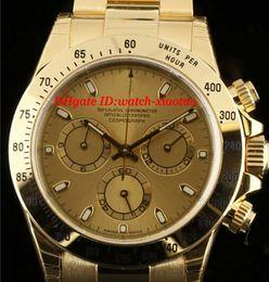 Lujo de primera calidad Mans relojes pulsera de acero NUEVA 116528 18K Oro Amarillo Champagne Dial Box Papeles 40mm mecánico automático Men's Watch desde fabricantes