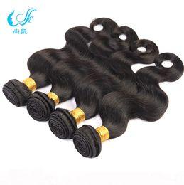 Wholesale Double Drawn Body Wave - Malaysian Peruvian Indian European Brazilian Hair Body Wave Hair Wefts Double Drawn 4pcs 100% Human Hair Weaves No Tangle No Shedding