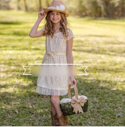 Wholesale Fresh Child - 2016 European Summer Children Flower Girls Bohemia Design Lace Dresses Princess Flowers Brooch Fresh Dress Clothing Beige K7503