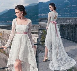 Wholesale Sexy Dress Low Back - Vintage Full Lace High Low Wedding Dresses 2016 With Long Sleeves Sexy Backless Sash Front Short Back Long Cheap Summer Beach Bridal Gowns