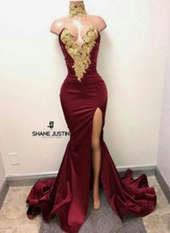Wholesale Fashion Photo Lighting - Sexy burgundy Evening Dress Side Split Sweep Train Gold Applique with rhinestones Prom Gowns Custom Made Elastic Satin Velvet