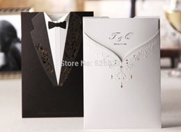 Wholesale Groom Bride Wedding Invitation Card - Wholesale- Elegant Bride and Groom Tuxedo wedding invitations card,Customized marriage party ceremony kit,100SETs lot,EXPRESS shipping