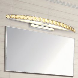 Wholesale Crystal Wall Sconces Lighting - New Arrival 10W 15W LED Crystal Mirror Light 44cm 54cm Wall Lamp Bathroom Lights 110-240V Stainless Sconces Indoor Mirror Front Wall Lamp