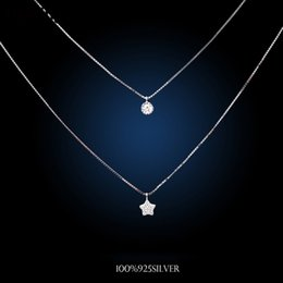Wholesale double star necklace - Wholesale- Korea Fashion Double Chain Necklaces 925 Sterling Silver Star Necklaces&Pendants Jewelry Collar Colar Free Shipping
