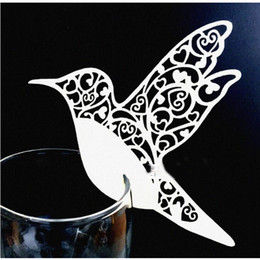 Wholesale Glass Table Decorations - New Fashion Creative Bird Paper Wine Glass Place Card Wedding Party Decoration 200pcs lot free shipping