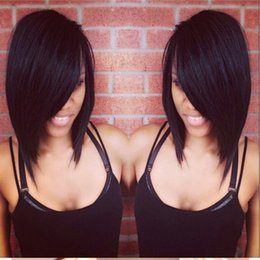 Wholesale Light Brown Wigs Sale - Hot Sale Human Hair Bob Wigs Unprocessed Short Full Lace Wig Silky Straight Lace Frontal Wigs Black Women With Baby Hair 8A Grade