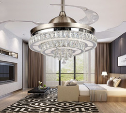 Wholesale Modern Contemporary Ceiling Lights - LED 42inch 108cm 4 color changing light K9 Crystal Ceiling Fan Modern Contemporary Living Room Remote Control Led Fan Lights Bedroom MYY