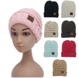 Wholesale Knitted Christmas Hats For Baby - kids winter keep warm cc beanie knitting hats High Quality Boys girls Wool knit skull designer hat outdoor sports caps for baby children C63
