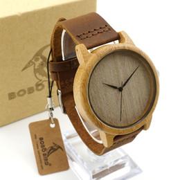 Wholesale Couple Watches Leather - New Luxury Fashion Men Watches Wooden Wristwatch Bamboo Wood Cowhide Watch Strap BOBOBird Women Lady Couple Original Quartz Watches