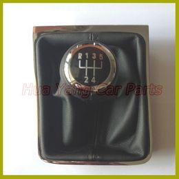 Wholesale Gear Shift Passat - car shift gear knob Free Shipping 5 Speed 6 Gear Shift Knob With Chrome Frame For VW Passat B6 CC 3C R36