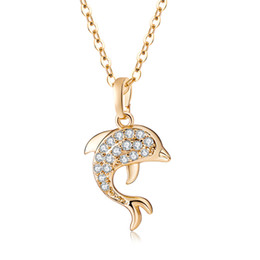 """Wholesale Crystal Cross Costume Necklace - 18K Yellow Gold Plated Clear Crystals Full Paved Dolphin Animal 18"""" Cross Chain Necklace Fashion Party Costume Jewelry for Women"""