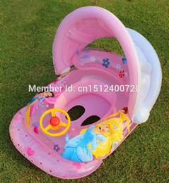 Wholesale Kids Plastic Princess Rings - Wholesale- Summer bath toy Princess Children Inflatable swimming ring seat boat cartoon swimming laps Kids Swim bath Ring toy for girls