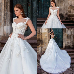 Wholesale Simple Boat Neck Organza Gown - 2017 Sheer Millanova Full Lace Wedding Dresses Boat Cap Sleeves Backless Chapel Train See Through Appliqued Bones Plus Size Bridal GOwns