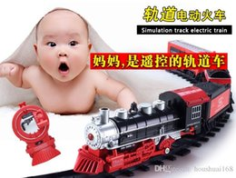 Wholesale Battery Trains - Long retro electric remote control toy train track puzzle assembling sound and light rail transport simulation model trains