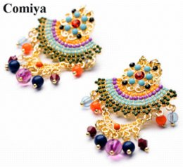 Wholesale Designer Brand Perfumes - Multicolor bead perfumes women brand fashion bohemian big jewelry dangle earring large earrings dress Top Quality designer